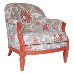Floral Upholstered Chair How To Paint Leather Coral And Chairish