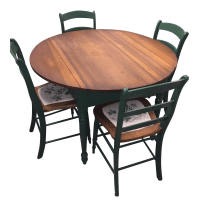 Antique Kitchen Table With Hand Painted Chairs - Set of 5 ...