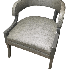Faux Leather Chair Repair Accent With Wooden Arms Gray Ostrich Chairish