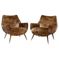 Mid-Century Modernist Cowhide Chairs - Pair | Chairish