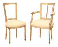 French Louis XVI Style Original Painted Chairs - Set of 6 ...