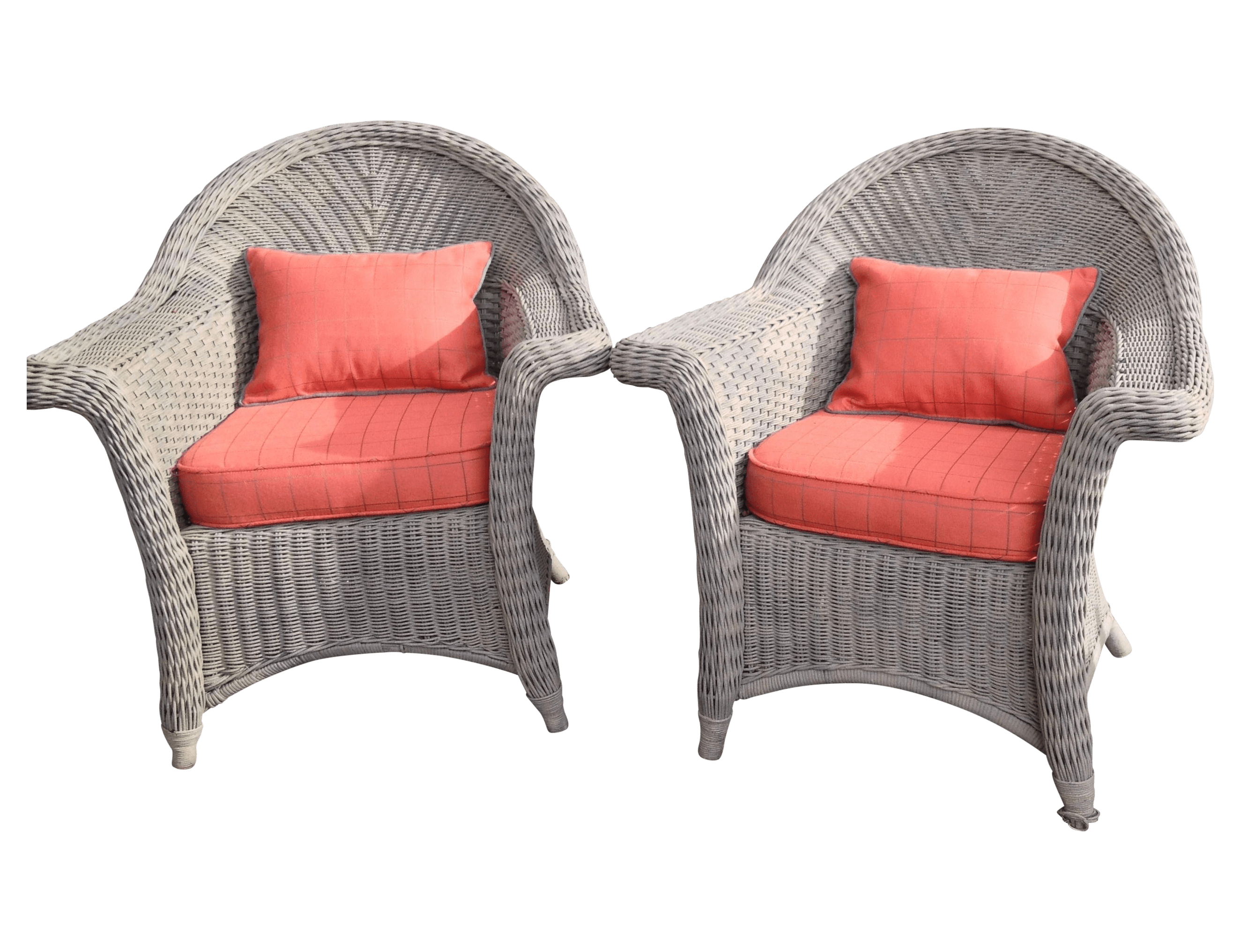 orange wicker chair cushions reupholster leather seat armchairs with pair chairish
