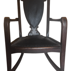 Rocking Chair Leather And Wood Land Of Nod High Mat Antique Chairish