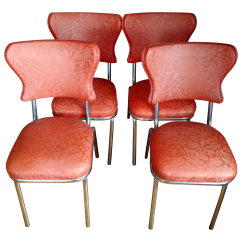 Retro Chrome Chairs Wedding Chair Covers Hire Hertfordshire 1950s Vinyl And Dining Set Of 4 Chairish