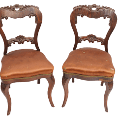 Brown Slipper Chair Stool Pictures Antique Distressed Chairs A Pair Chairish
