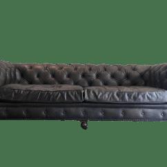 Kensington Leather Sofa Restoration Hardware Sleeper Bunk Beds Black Chairish