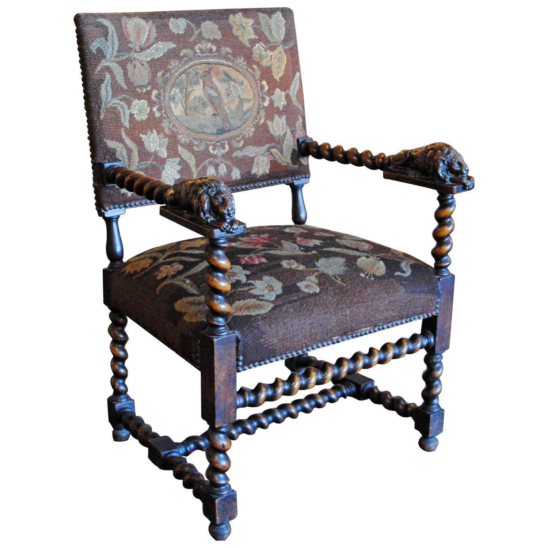Carved Lion Barley Twist Chair  Chairish
