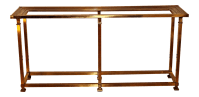 Vintage Mid-Century Brass Glass Top Console Table | Chairish