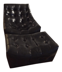 Black Leather Chair & Ottoman | Chairish