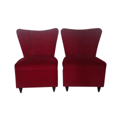 Red Velvet Office Chair Contemporary Leather Dining Chairs Uk Petite Slipper Chairish