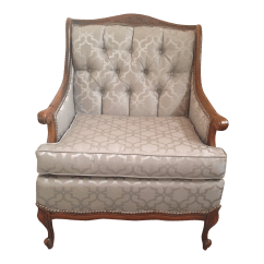 Antique Accent Chair Genuine Leather And Ottoman Reupholstered Queen Anne Chairish