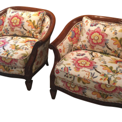 Floral Upholstered Chair Dining Room Chairs With Leather Seats Accent A Pair Chairish