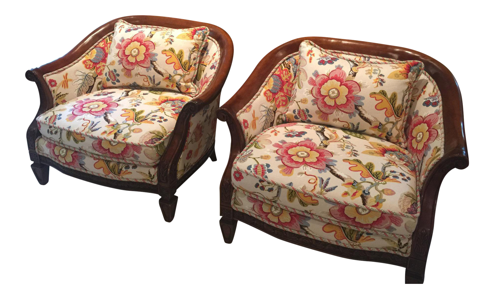 floral upholstered chair p pod accessories accent chairs a pair chairish