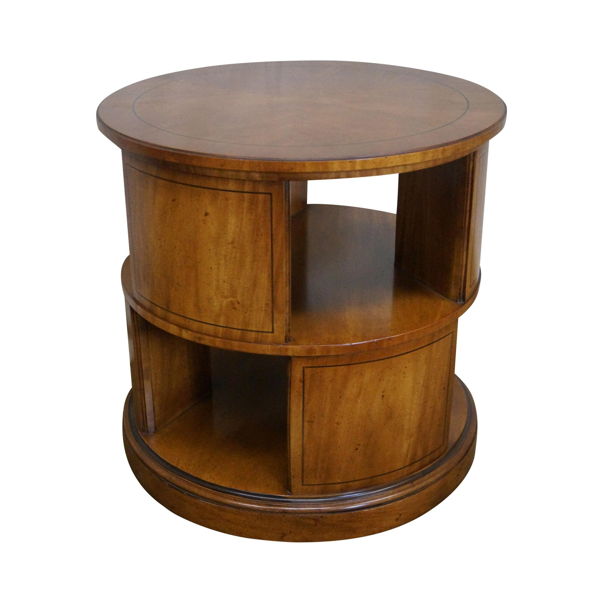 revolving chair with net victorian lounge henredon vintage round bookcase side table