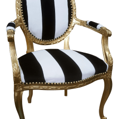 Black White Striped Chair Used Covers Wedding For Sale Antique Louis Xvi In Gold Leaf With And