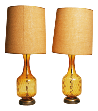Mid-Century Amber Glass Table Lamps - A Pair   Chairish