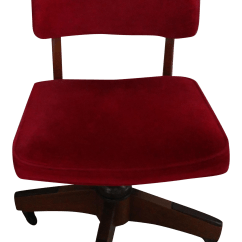 Red Swivel Desk Chair Upholstered Stacking Chairs Antique Micro Fiber Rolling