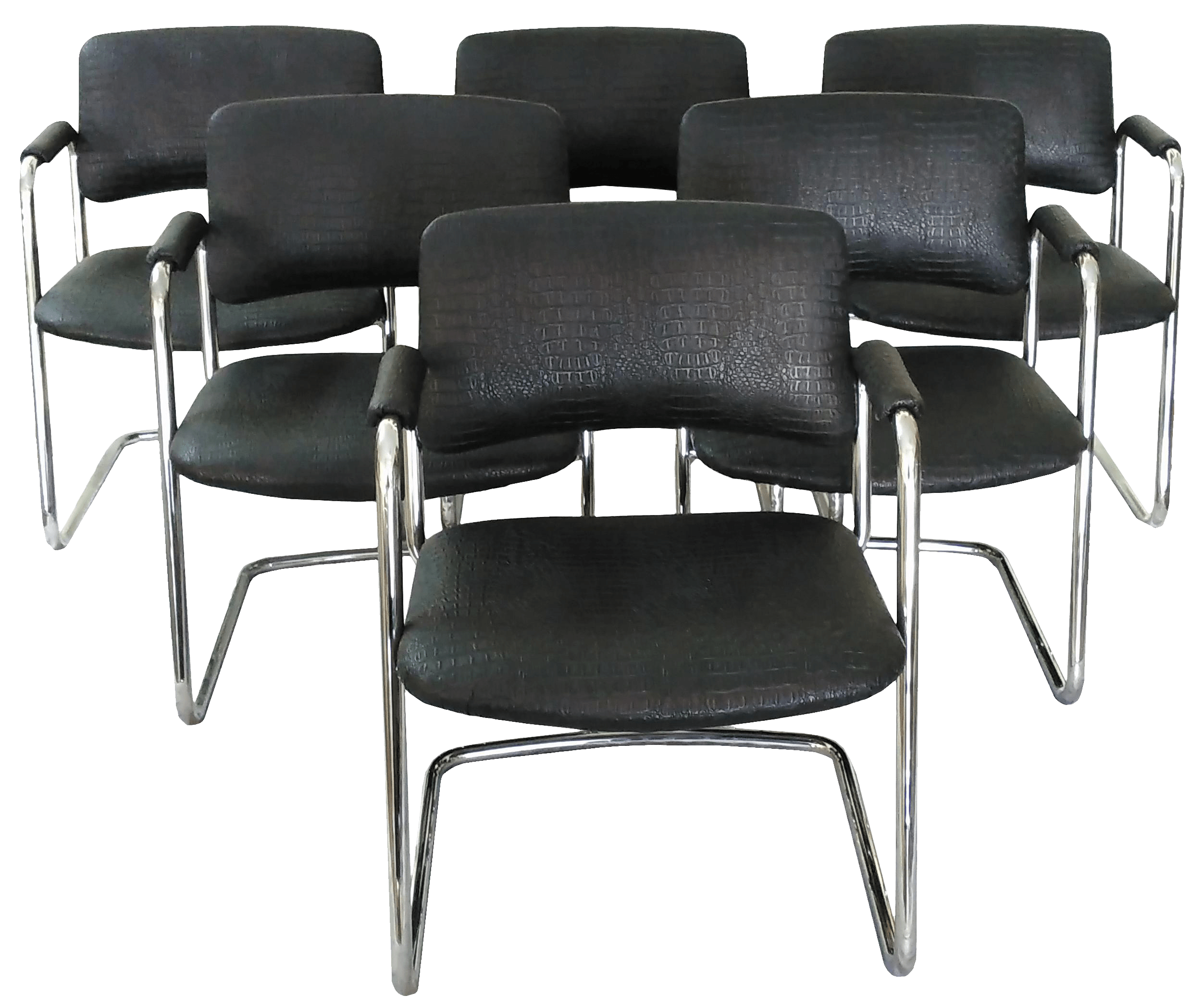 steelcase vintage chair recycled milk jug chairs black cantilever set of 6