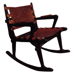 Rocking Chair Leather And Wood What A Meaning Mohena Chairish