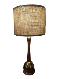 Mid-Century Wood & Brass Table Lamp with Shade | Chairish