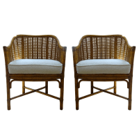 Vintage McGuire Cane Bamboo Barrel Chairs - A Pair | Chairish