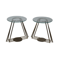 Mid-Century Chrome & Glass Side Tables - Pair | Chairish