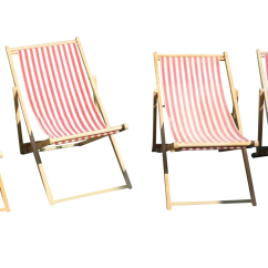 Antique Beach Chair Folding Bamboo Chairs Vintage Canvas Set Of 4 Chairish