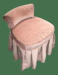 Petite Pink Velvet Skirted Vanity Chair   Chairish