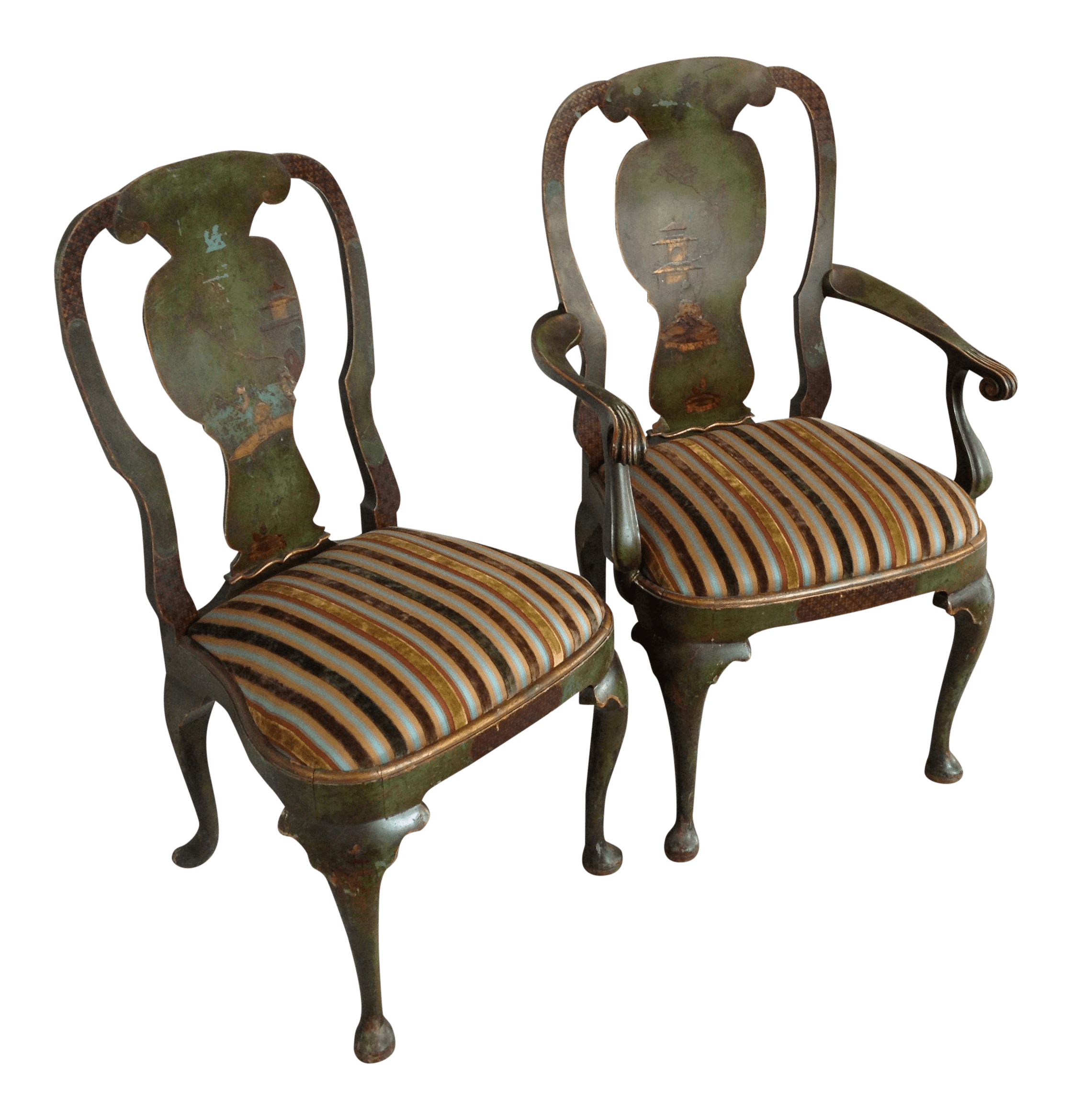 Emerald Green Accent Chair Emerald Green Chairs With Landscape Motif Pair Chairish
