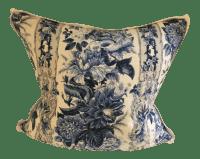 Blue & White Floral Pillow | Chairish