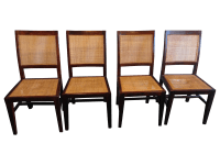 Crate & Barrel Cane Dining Chairs - Set of 4 | Chairish