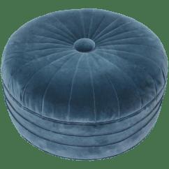 Large Round Sofa Tables Slipcovers For Leather Sofas Uk Art Deco Ottoman In Blue Velvet | Chairish