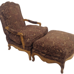 French Provincial Chair And Ottoman Computer Covers Nz Baker Country Lounge Chairish