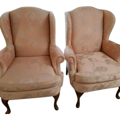 Queen Anne Style Chairs Osaka Massage Chair Hickory Craft Wingback A Pair