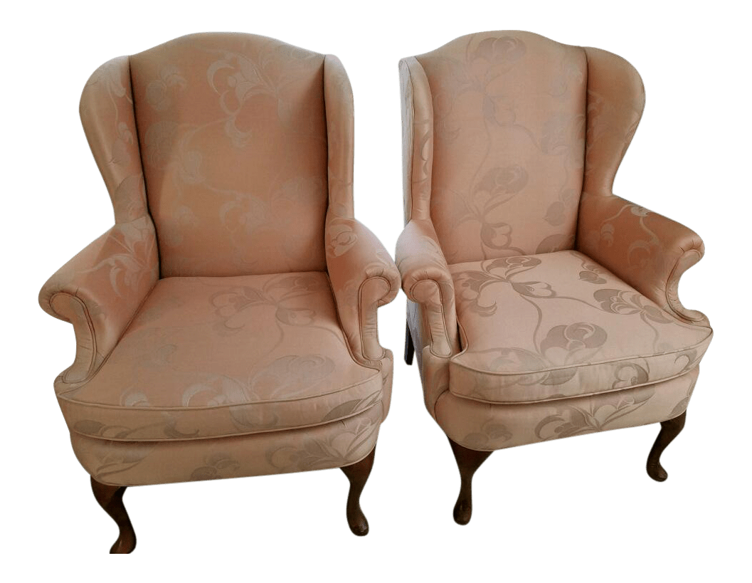 Queen Anne Wingback Chair Hickory Craft Queen Anne Style Wingback Chairs A Pair