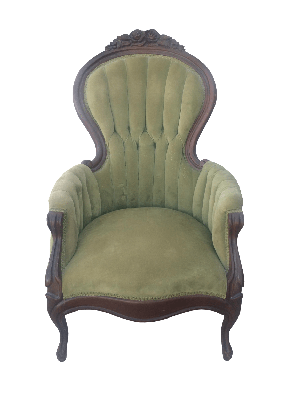 olive green velvet accent chair balloon chairs for sale antique chairish