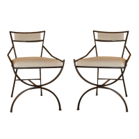Mid-Century Wrought Iron Chairs - a Pair | Chairish
