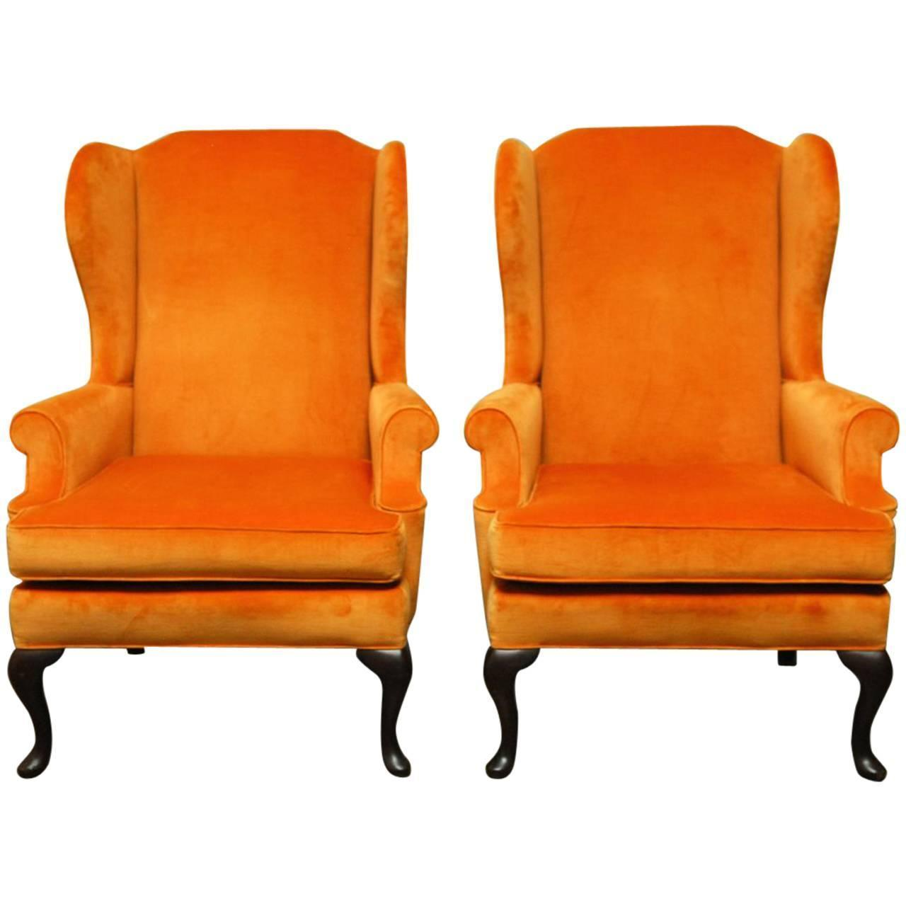 Queen Anne Wingback Chair Queen Anne Style Orange Wingback Chairs A Pair Chairish