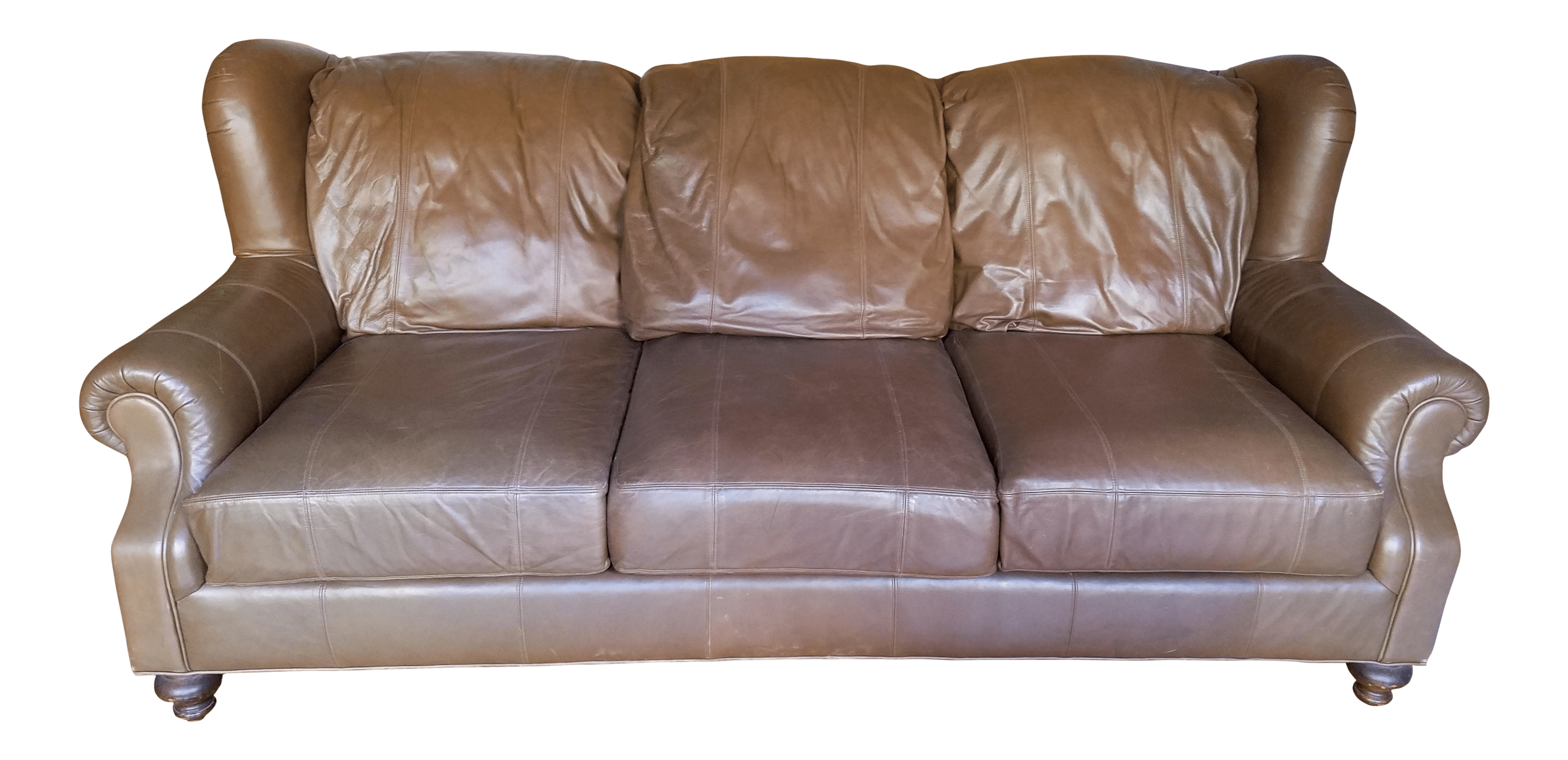 henredon sofa leather back of the chairish