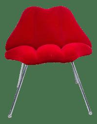 """Modern Red Velvet """"Lips"""" Chair   Chairish"""