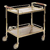 French Brass & Glass Rolling Bar Cart | Chairish