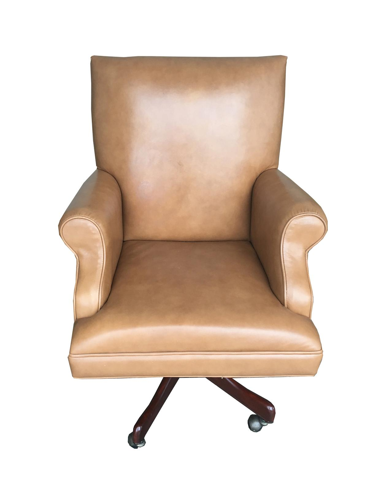 Tan Office Chair Vintage Mid Century Modern Tan Leather Chesterfield Style