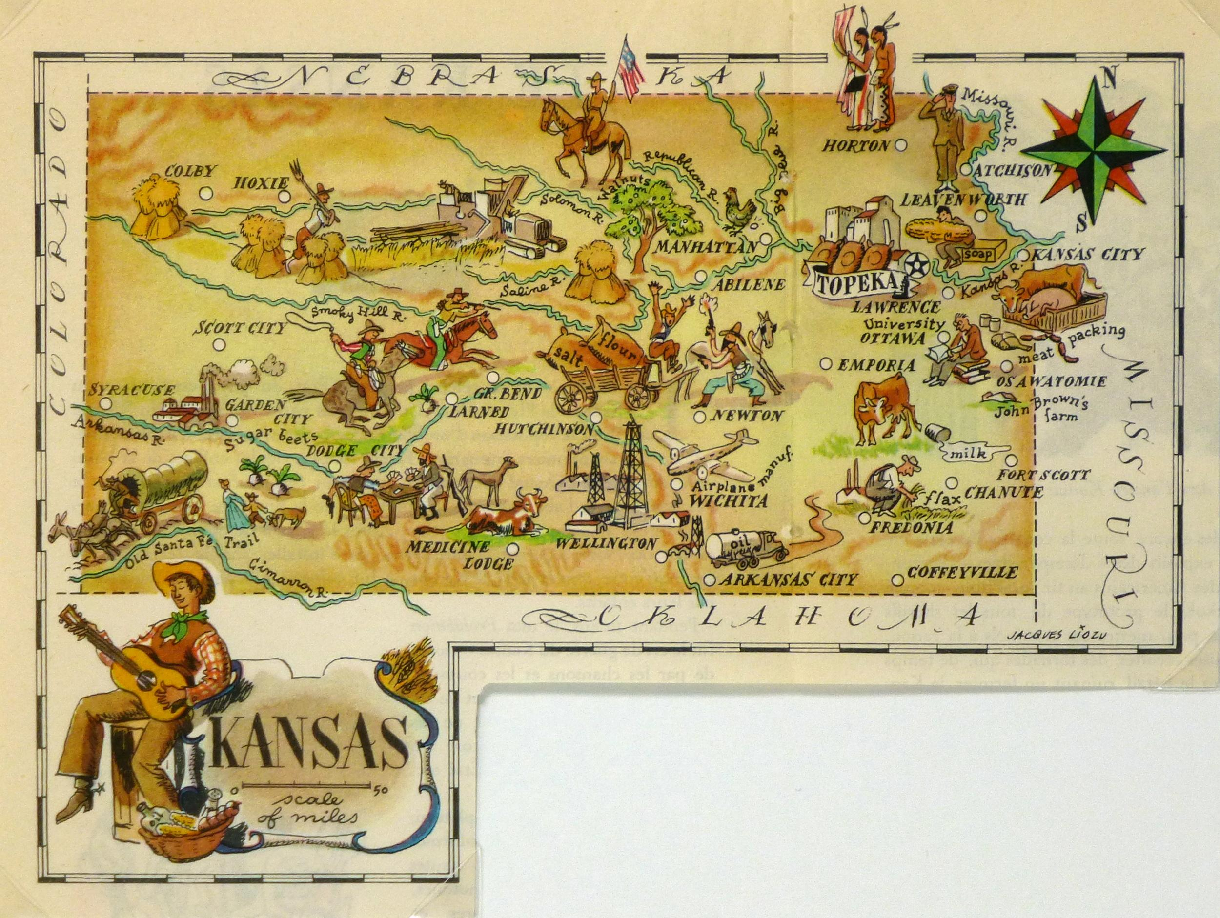 Vintage Kansas Pictorial Map 1946  Chairish