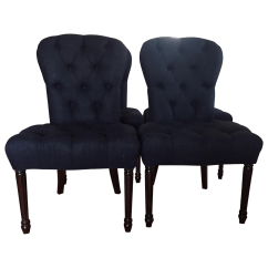 Navy Blue Dining Chairs Set Of 2 Ergonomic Mesh Chair From Emperor Custome Tufted 4 Chairish