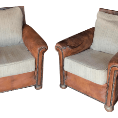 Cream Leather Accent Chairs Rolling Shower Chair With Padded Seat And Marble Tweed Club A Pair Chairish