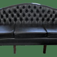 Faux Leather Chesterfield Sofa Set Olx Black Chairish