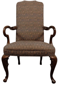 Federal-Style Mahogany Upholstered Armchair | Chairish