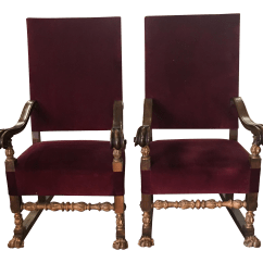 Red Velvet Office Chair Metal Covers Carved Italian Throne Chairs A Pair Chairish