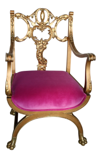 Pink and Gold Renaissance Style Princess Chair | Chairish