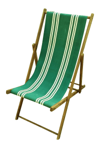 Vintage Wood & Canvas Folding Beach Deck Chair | Chairish